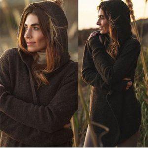 Betabrand Black Sheep Wrap Sweater Brown Wool NWT